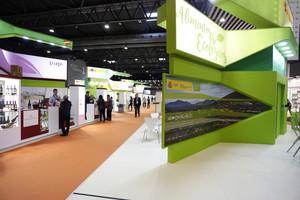 Zona de estands dedicados a productos ecológicos y saludables, en el salón Alimentaria.