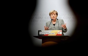 Angela Merkel durante un acto electoral, en Dortmund.