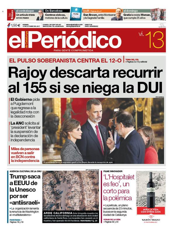 La portada de EL PERIÓDICO del 13 de octubre del 2017.