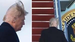 El viento despeinó a Donald Trump cuando subía al avión presidencial.
