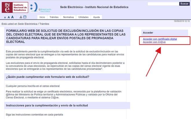 Pàgina web de l'INE per demanar la baixa pel que fa als enviaments de propaganda electoral