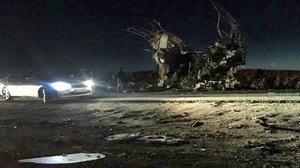 El autobús contra el que se ha producido el ataque terorista en Irán.