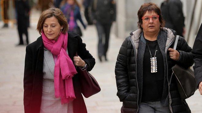 Carme Forcadell y Dolors Bassa, a su llegada al Tribunal Supremo el pasado 23 de marzo.