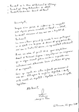 Carta manuscrita en la que Joaquim Forn comunica su renuncia al escaño en el Parlament.