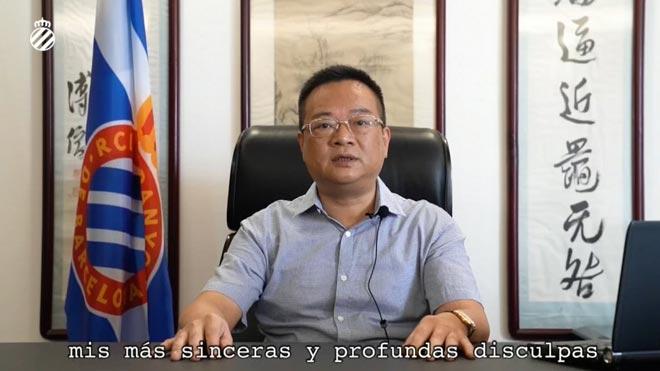Chen Yansheng, presidente del Espanyol: La mayor responsabilidad del mal resultado deportivo es mía.