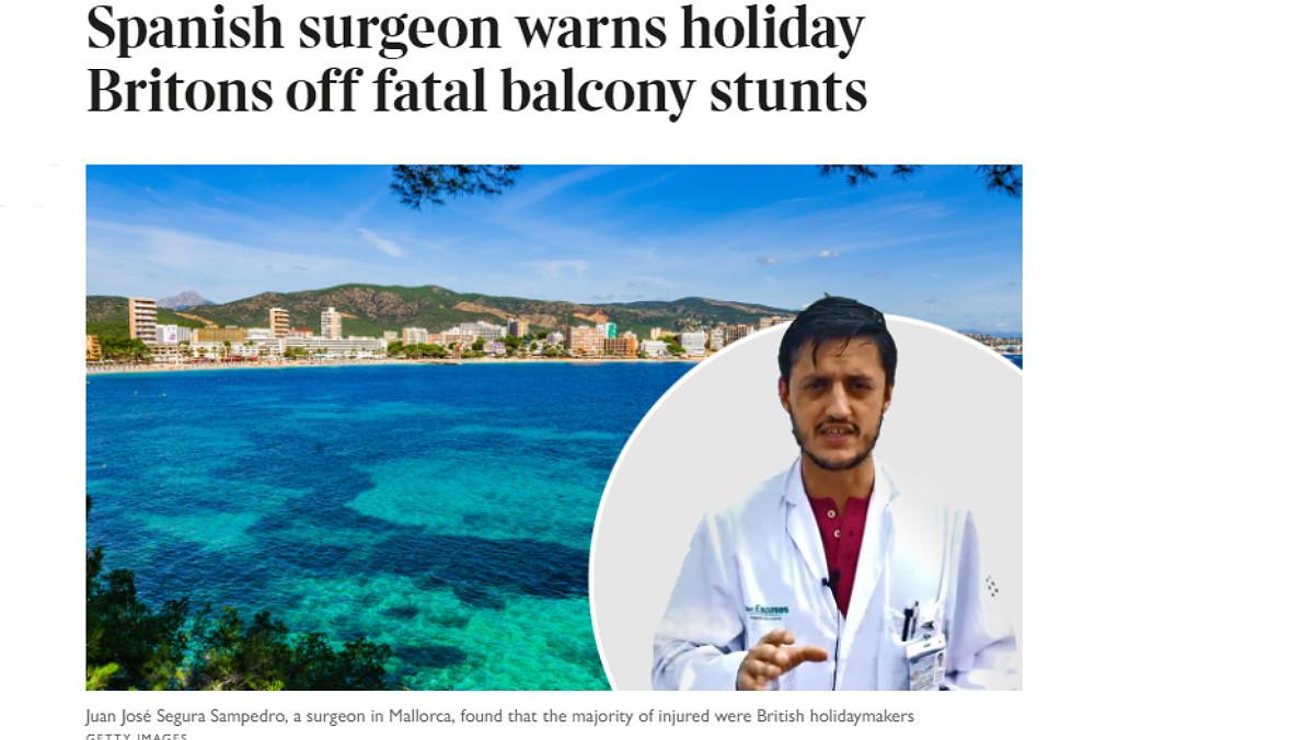 The Times le dedica un artículo a Juan José Segura, el cirujano que ha fichado el Foreign Office para atajar el problema del balconing.
