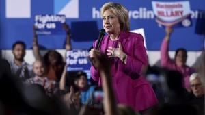 Clinton habla en un mitin en Las Vegas (Nevada), este jueves.