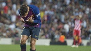 Coutinho se lamenta de una ocasión fallada esta temporada.
