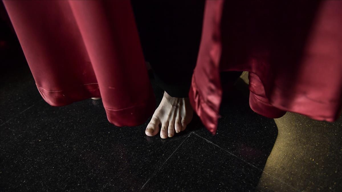 Detalle de un penitente descalzo en Calahorra.