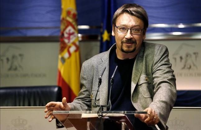 El diputado de En Comú Podem Xavier Domènech, durante una rueda de prensa en el Congreso de los Diputados.