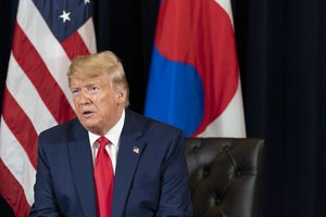 23/09/2019 HANDOUT - 23 September 2019, US, New York: US President Donald Trump speaks during his meeting with South Korean President Moon Jae-in during their meeting at the InterContinental Barclay hotel, on the sidelines of the United Nations General Assembl. Photo: Shealah Craighead/White House /dpa - ATTENTION: editorial use only and only if the credit mentioned above is referenced in full