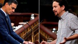 Dos imágenes de Pedro Sánchez y Pablo Iglesias, en la tribuna del Congreso, el día de la investidura fallida.