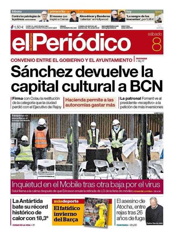 Prensa de hoy: Las portadas de los periódicos del sábado 8 de febrero del 2020