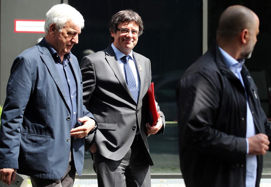 El empresario Josep Maria Matamala, junto a Puigdemont, el pasado 17 de mayo en Berlín.