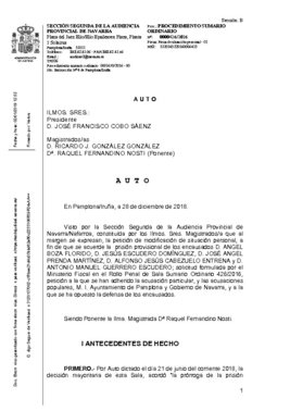 Fallo de la Audiencia de Navarra desestimando la prisión para La manada.