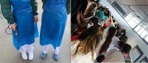 A la izquierda, delantales de plástico de charcutería llevan estas dos doctoras que trabajan en Ifema. A la derecha, el vestuario femenino del pabellón 5, donde se hacina el personal.