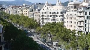 El paseo de Gràcia, visto desde la terraza del Hotel Condes de Barcelona.