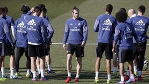 Gareth Bale, durante un entrenamiento con el Madrid.