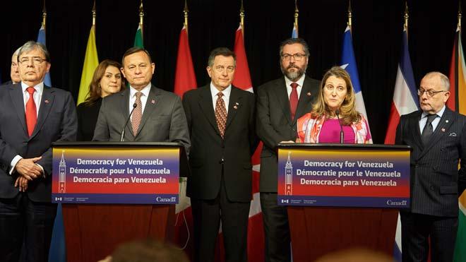 El Grupo de Lima descarta la opción militar en Venezuela. En la foto, la reunión celebrada en Ottawa, Canadá.
