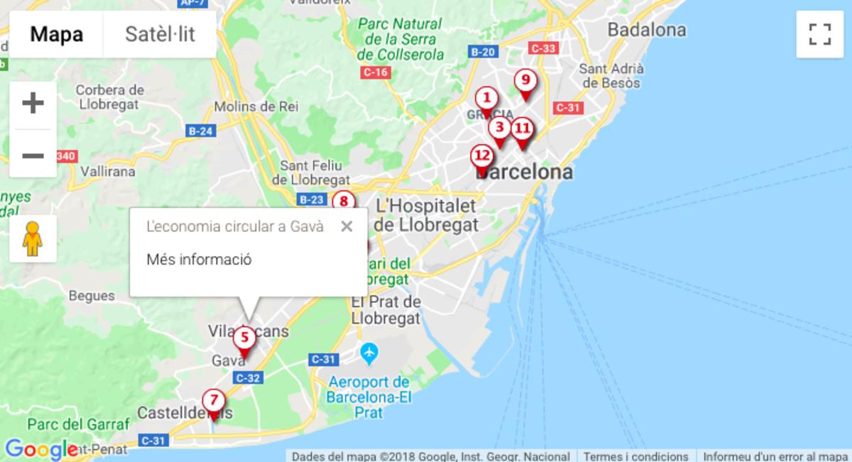 Imagen del mapa interactivo sobre economía circular elaborado por el AMB