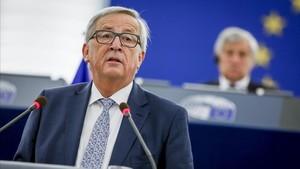 Jean-Claude Juncker, durante su discurso del estado de la UE en el Parlamento Europeo en Estrasburgo, el miércoles 13 de septiembre.
