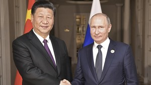 Xi Jinping y Vladimir Putin en Johanesburgo.