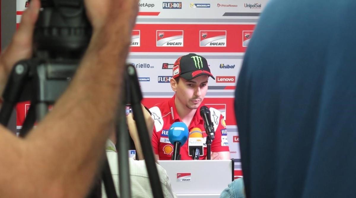 Jorge Lorenzo, en la conferencia de prensa de hoy, en Mugello.