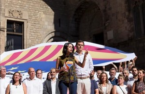 Albert Rivera e Inés Arrimadas en un acto en Barcelona este martes.