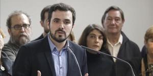 El líder de IU y candidato de Unidad Popular, Alberto Garzón, durante una comparecencia ante la prensa. Foto de archivo.
