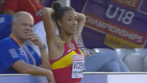 María Vicente, tras su salto de 13,95 metros.