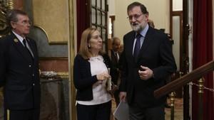 Mariano Rajoy y la presidenta del Congreso, Ana Pastor, este miércoles.
