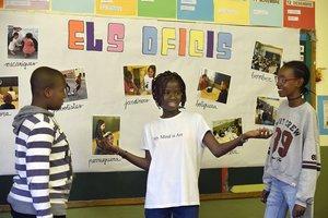 Fode, Gibba y Khady, de la escuela Balàfia de Lleida.
