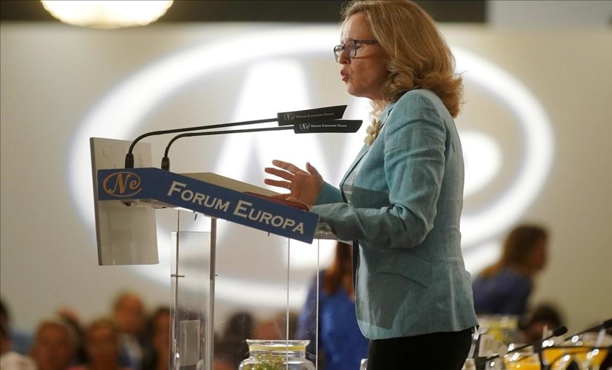 Nadia Calviño, ministra de Economía, en el Foro Nueva Economía.