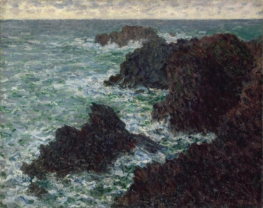 Óleo Las rocas de Belle-Île, en la Costa Salvaje francesa, de Monet, en la exposición Arte y cine. 120 años de intercambios, en CaixaForum.