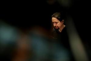 Pablo Iglesias, en rueda de prensa en el Congreso de los Diputados.