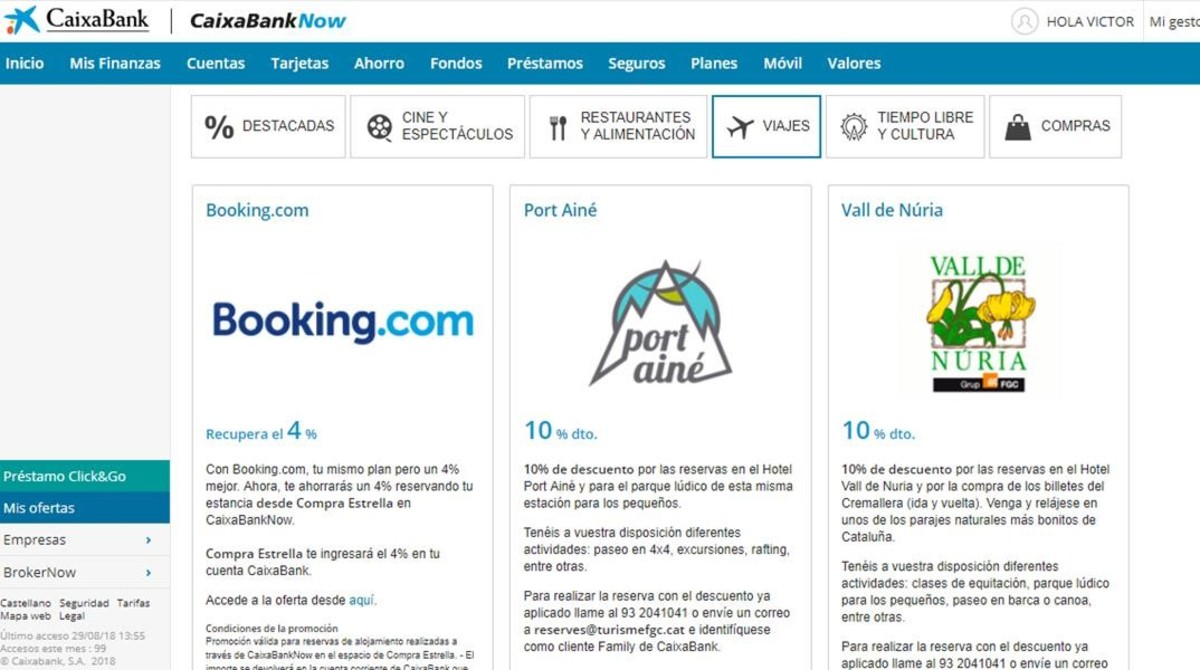 Página de cashback de CaixaBank con descuentos en Booking.