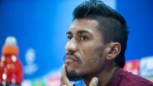 Paulinho, en la rueda de prensa previa al duelo con el Olympiacos.
