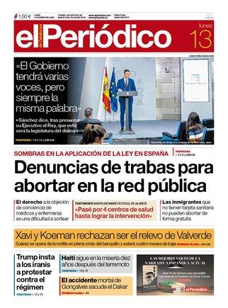 La portada de EL PERIÓDICO del 13 de enero del 2020.