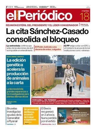 La portada de EL PERIÓDICO del 18 de febrero del 2020.