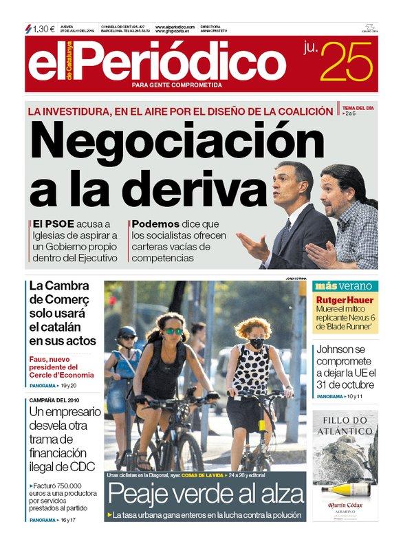 La portada de EL PERIÓDICO del 25 de julio del 2019