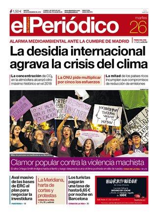 La portada de EL PERIÓDICO del 26 de noviembre del 2019.