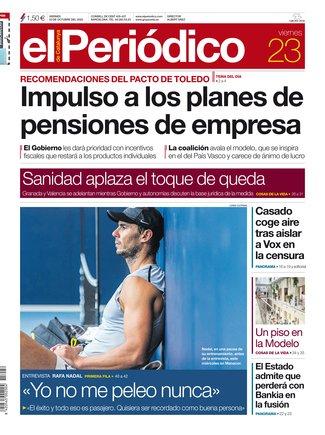 La portada de EL PERIÓDICO del 23 de octubre del 2020.