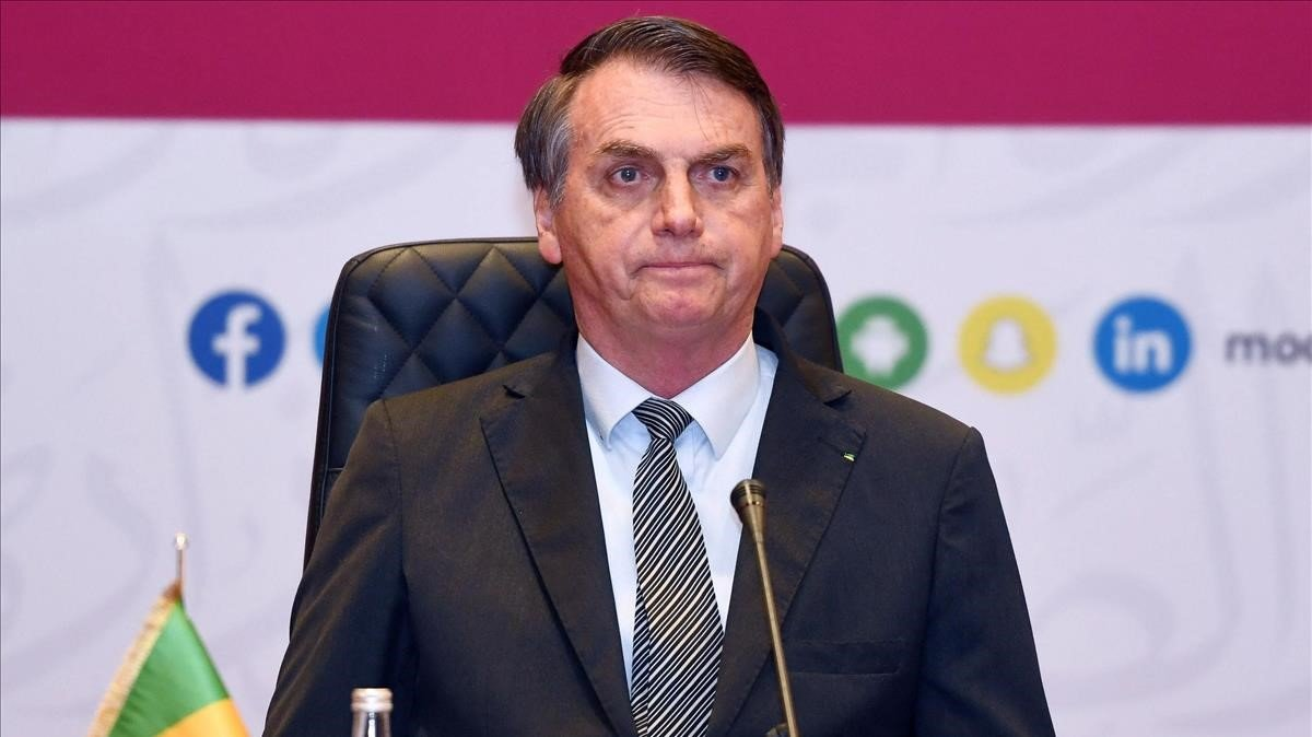 El presidente de Brasil, Jair Bolsonaro, durante un acto en Catar este lunes.