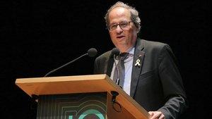 El presidente de la Generalitat, Quim Torra, durante la entrega de los premios de la Cámara de Comercio de Terrassa.