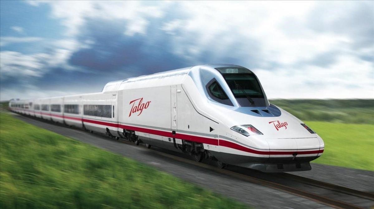 Imagen de un tren Talgo en una red de alta velocidad.