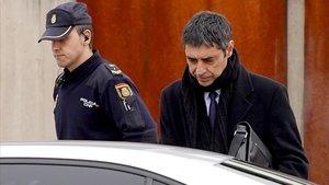 Josep Lluis Trapero, el pasado mes de enero, saliendo de la Audiencia Nacional.