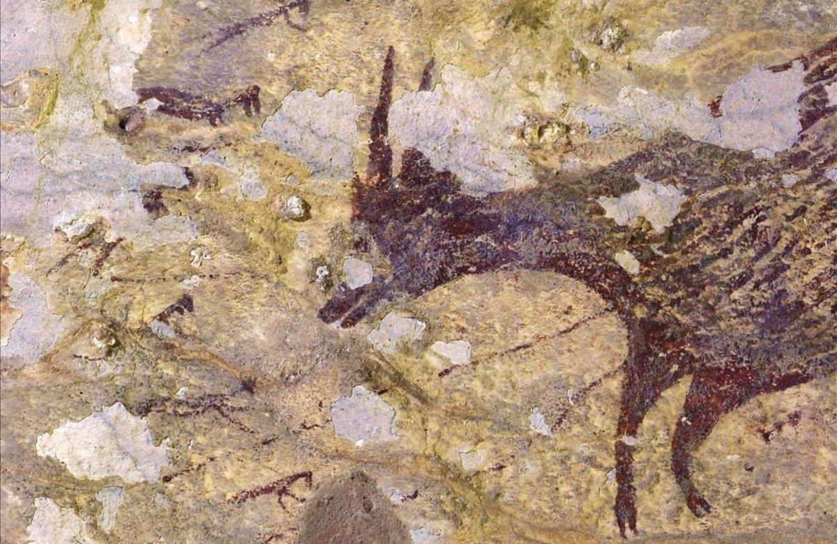Una imagen de las pinturas descubiertas en Indonesia.