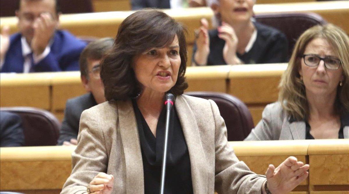 La vicepresidenta del Gobierno, Carmen Calvo, este martes en el Senado.
