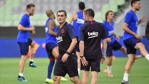 Valverde, en una sesión de entrenamientos en Kobe (Japón), este mes de julio.