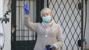Vicky Huerta, tras recibir el alta hospitalaria por el coronavirus.
